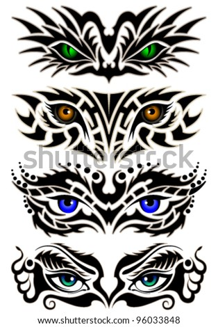 Set of abstract eyes, tribal tattoo - stock vector
