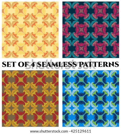 Set of 4 abstract fashionable fractal seamless patterns with decorative ornament of orange, golden, yellow, beige, magenta, pink, blue, teal, grey, red, white and green shades - stock vector