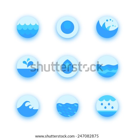 Set of abstract flat water icons, vector design elements - stock vector