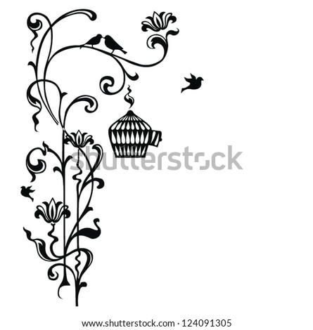 Set of abstract floral patterns - stock vector