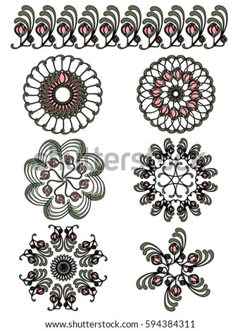 Set of abstract flower mandala. Vintage design elements. Ornamental round floral pattern.