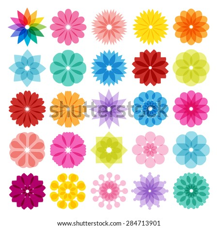 Set of  Abstract Flowers Icons - stock vector