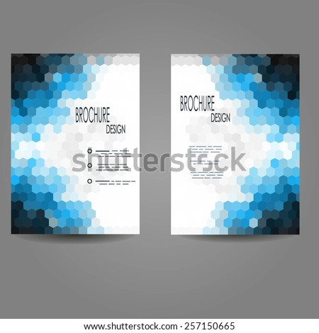Set of Abstract Flyer Geometric Triangular Abstract Blue Modern Backgrounds - EPS10 Brochure Design Templates - stock vector