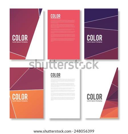 Set of Abstract Flyer Geometric Triangular Abstract Modern Backgrounds - EPS10 Brochure Design Templates - stock vector