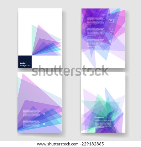 Set of abstract geometric background. Vector illustration for flyers, posters, banners.  - stock vector