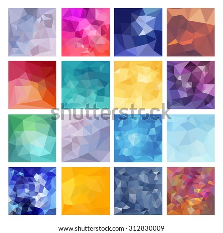 Set of Abstract Geometric backgrounds. Polygonal vector design - stock vector
