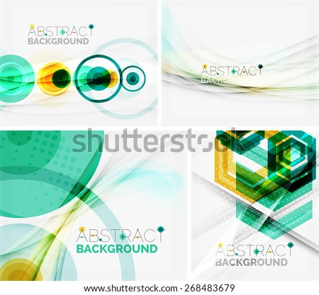 Set of abstract geometric backgrounds. Waves, triangles, lines. Vector universal templates - stock vector