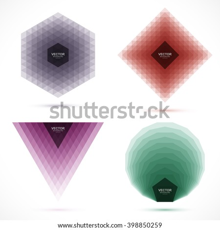 Set of abstract geometric banners. Design element for banner, poster, flyer, card, postcard, cover, brochure. - stock vector