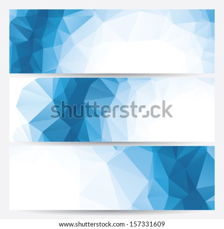set of abstract geometric banners (headers) with triangular polygons, vector illustration - stock vector