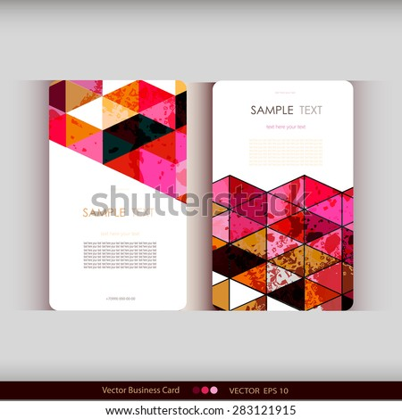 Set of abstract geometric business cards - stock vector