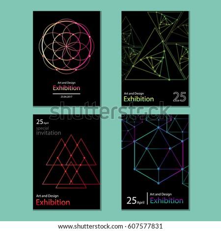 Set abstract geometric invitation vector stock vector 607577831 set of abstract geometric invitation vector stopboris Images