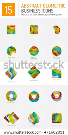 Set of abstract geometric logos - sphere, circle, triangle and square