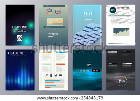 set of abstract geometric modern style  brochure template vector illustration for use as product presentation or company presentation infographic - stock vector