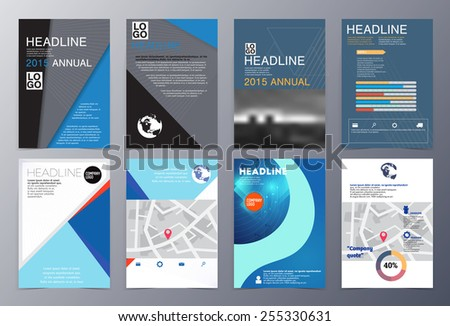 Set Abstract Geometric Modern Style Brochure Stock Vector - Product brochure template