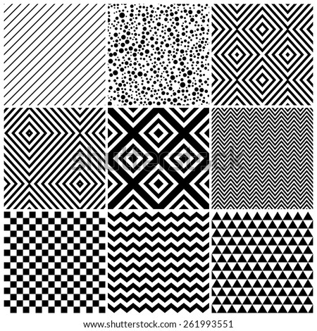 Set of 8 abstract geometric patterns. Classic black and white seamless wallpaper. Vector illustration. Fantasy background with geometric shapes. Zigzag, chevron, checkerboard,circle, rhombus, lines. - stock vector