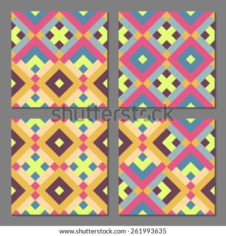 Set of 4 abstract geometric patterns. Colorful retro seamless wallpaper. Vector illustration. Fantasy background with geometric shapes. - stock vector