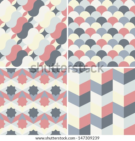 set of abstract geometric retro background pattern for design - stock vector