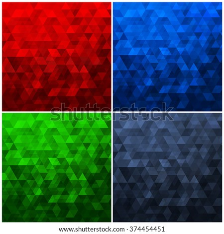 Set of Abstract Geometric Triangle Backgrounds - Vector Illustration Abstract Polygon Vector Patterns  - stock vector