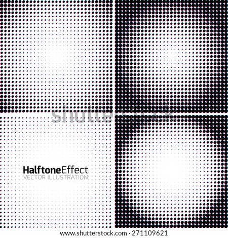 Set of Abstract Halftone Backgrounds with chroma aberration effect. Vector illustration - stock vector
