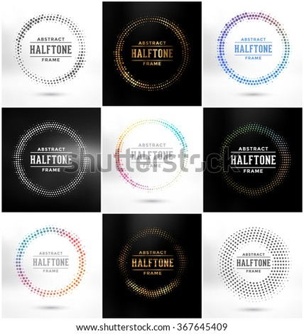 Set of Abstract Halftone Circle Frames - Colorful Design Collection