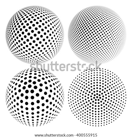 Set of Abstract Halftone 3D Sphere with Circle Dots. Futuristic Design Element in Techno Style. Vector illustration. - stock vector