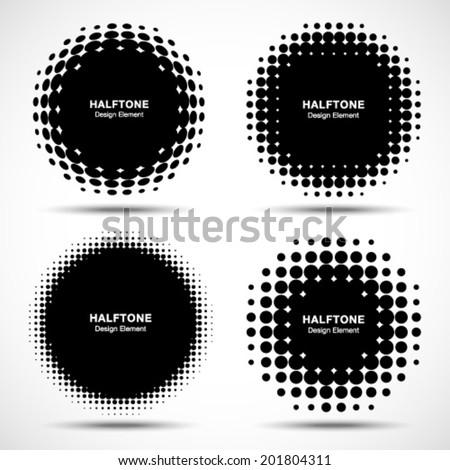 Set of Abstract Halftone Design Elements, vector illustration, logo - stock vector