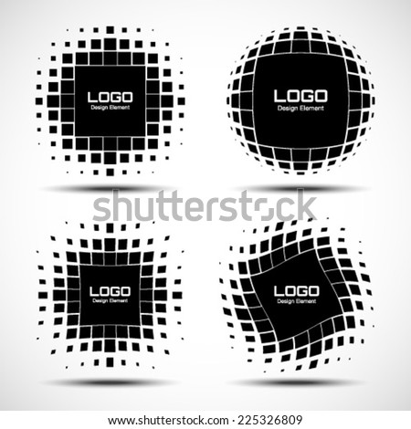 Set of Abstract Halftone Logo Design Elements, vector illustration  - stock vector