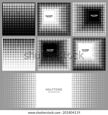 Set of Abstract Halftone Square Backgrounds, vector illustration  - stock vector