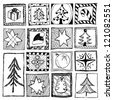 set of abstract hand drawn christmas designs - stock vector