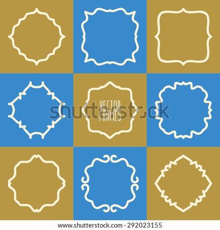 Set of abstract hipster logo badges frames. Vector illustration - stock vector