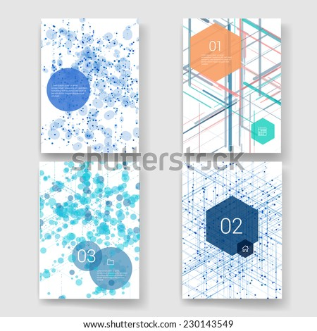 Set of Abstract isometric computer generated 3D blueprint visualization lines background. Vector illustration for break through in technology.  - stock vector