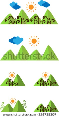Set of abstract landscape with hills