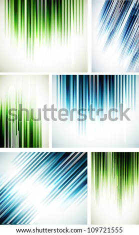 Set of abstract line backgrounds - stock vector