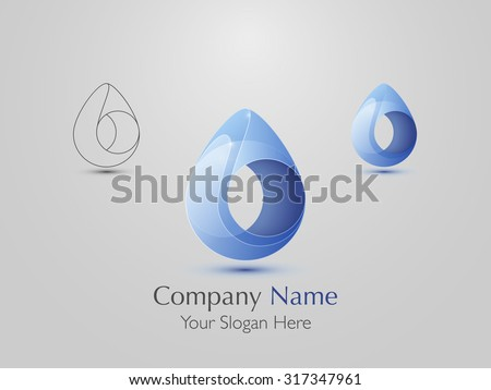 Set of abstract modern logo design. Creative Water drop icon. Vector illustration - stock vector