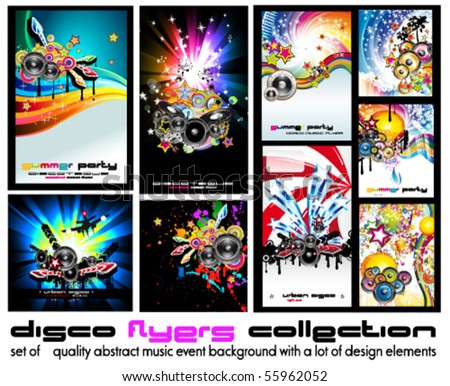 Set of 9 Abstract Music Background for Discoteque Flyer with a lot of design  elementes - Set 5 - stock vector
