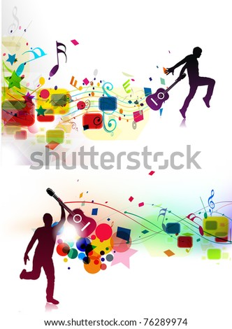 Set of Abstract music dance background for music event design. vector illustration. - stock vector