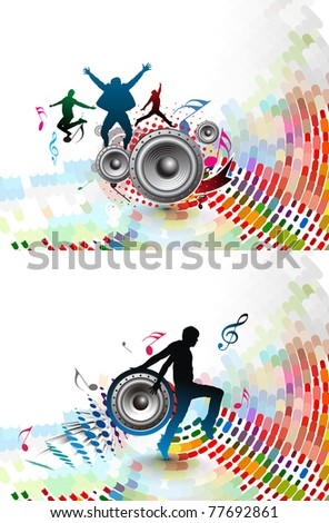 Set of Abstract music dance background for music event design. vector illustration.