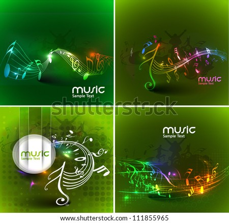 set of abstract music notes design for music background use. - stock vector