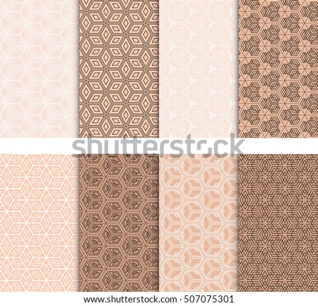 set of 8 abstract of cubes. vector illustration. for wallpaper design, seamless texture