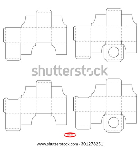 set of abstract packaging square boxes with lid template isolated on  background. vector illustration - stock vector