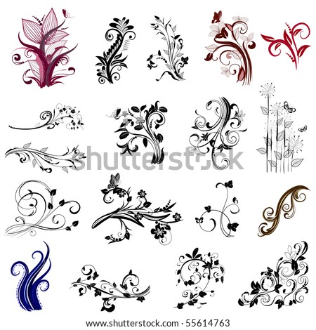 set of abstract patterns of plant - stock vector