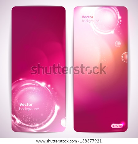 Set of abstract pink vector banners. - stock vector