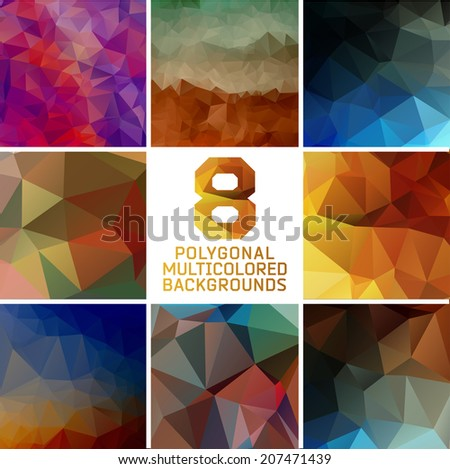 Set of abstract polygonal background, colorful triangles background - stock vector