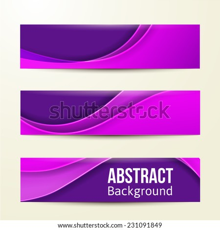 set of abstract purple banners. three background. Business design template. eps 10 - stock vector