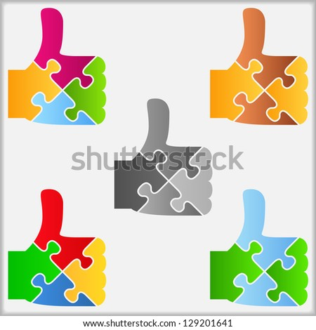 Set of abstract puzzle thumbs up icons, design elements for your logo, vector eps10 illustration - stock vector
