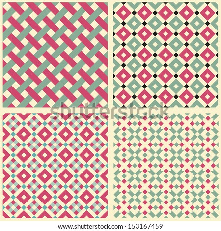 set of 4 abstract retro geometric seamless pattern - stock vector