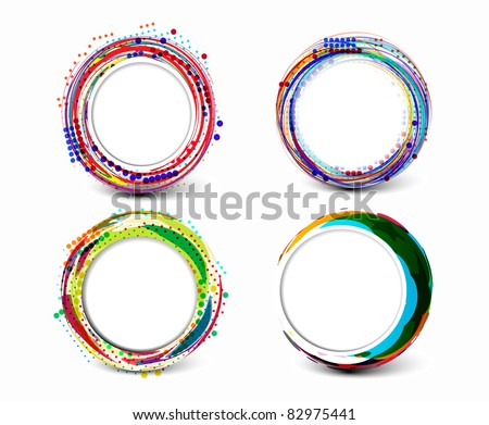 Set of abstract retro technology circles vector background. - stock vector