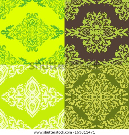 Set of abstract seamless background with floral elements