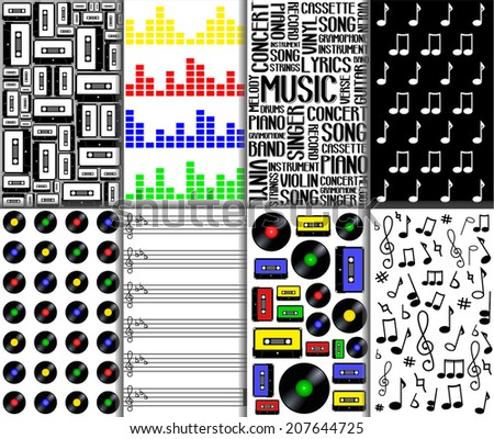 Set of abstract seamless music pattern. Word collage with different association terms, cassette tape, vinyl record, note paper, equalizer... vector art image illustration background, musical concept - stock vector