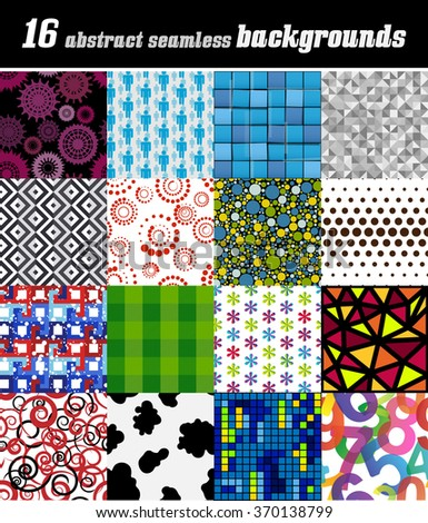 Set of 16 abstract seamless patterns / backgrounds - stock vector